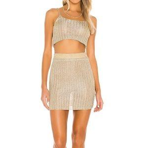 SUPERDOWN Gold Skirt Set